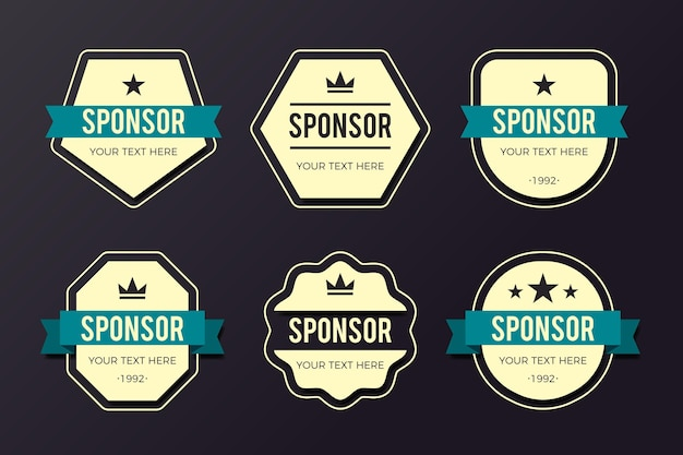 Creative sponsoring badges pack Premium Vector