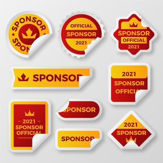 Set di adesivi di sponsorizzazione creativi Vettore gratuito