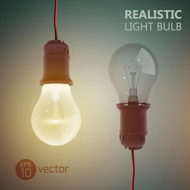 Quadrato creativo con due lampadine accese e spente appese a fili sull'illustrazione del gradiente Vettore gratuito