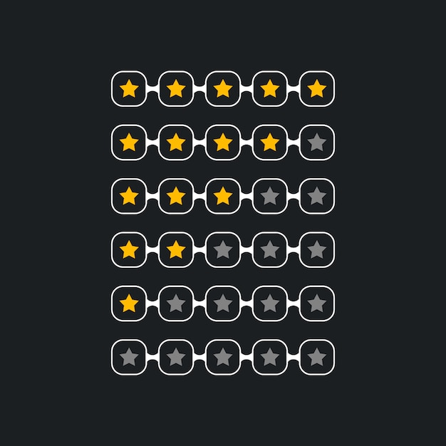 Creative star rating symbol for black theme Free Vector