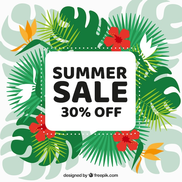 Creative summer sale background with tropical\ leaves