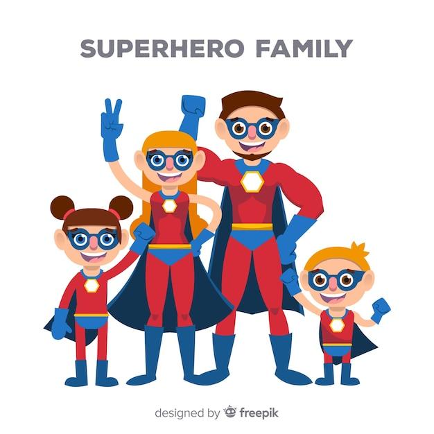 Creative superhero family concept Free Vector
