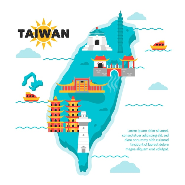 Creative taiwan map with different landmarks Premium Vector