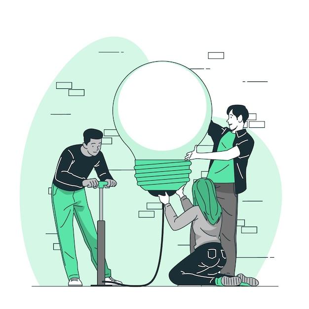 Illustrazione di concetto di squadra creativa Vettore gratuito