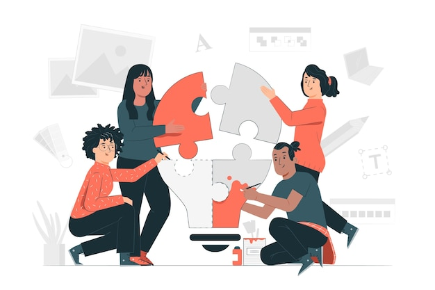Creative team concept illustration Free Vector