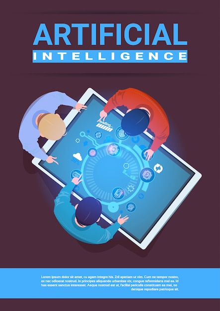 Creative team of programmers working sit at desk digital tablet top angle view artificial intelligence concept Premium Vector