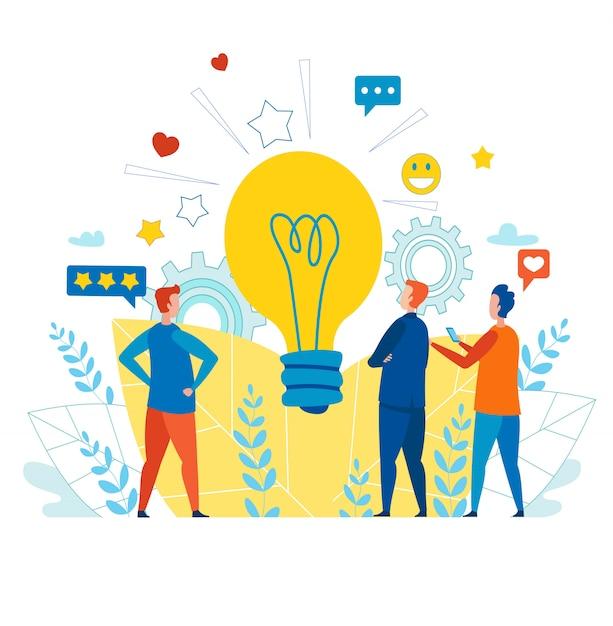 Premium Vector | Creative team working with idea for social media