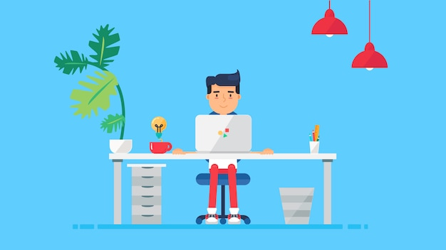 Creative tech workspace Premium Vector