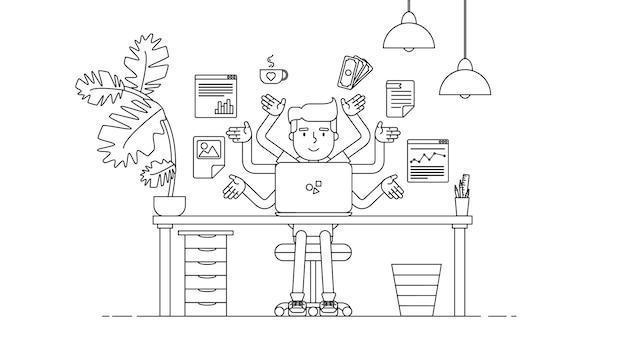 Creative tech workspace Premium векторы