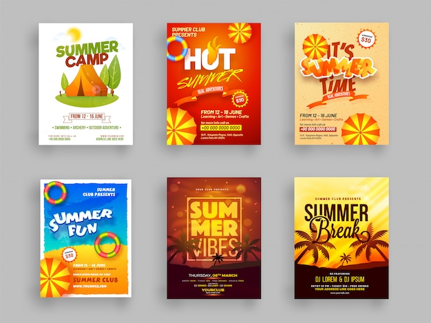 Creative template or flyer set of summer camp Premium Vector