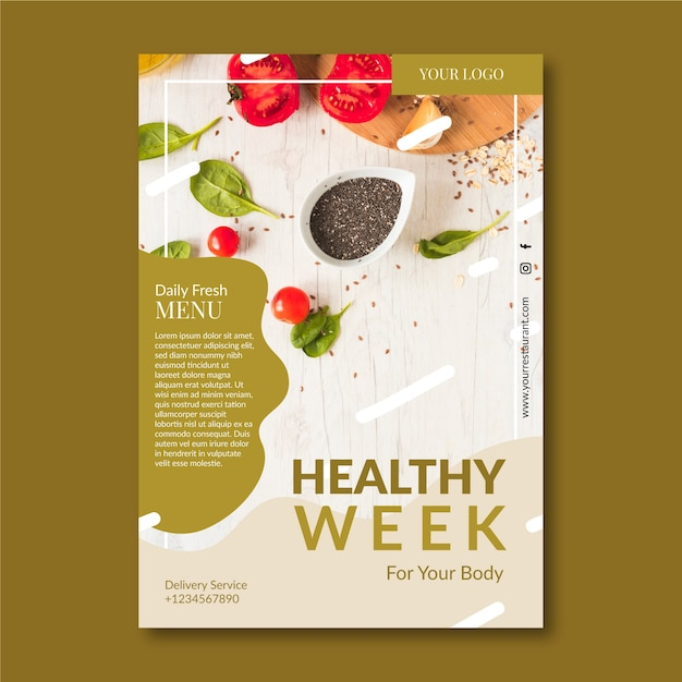 Creative template for healthy food restaurant poster with photo Free Vector