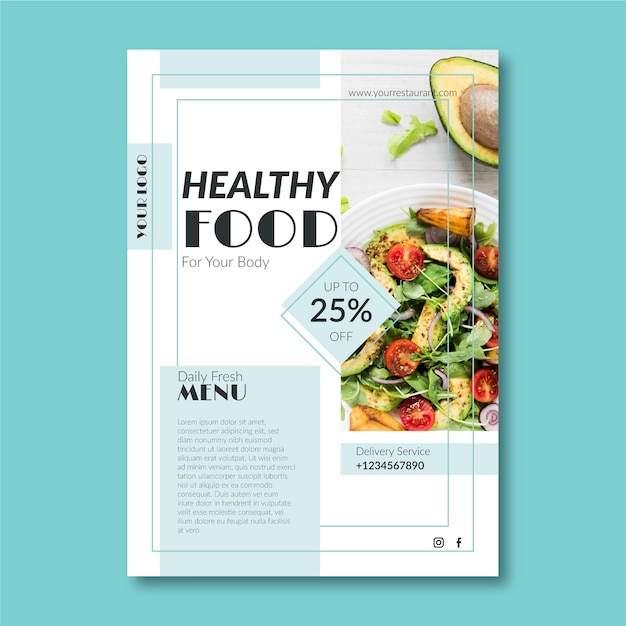Creative template for healthy food restaurant poster Free Vector