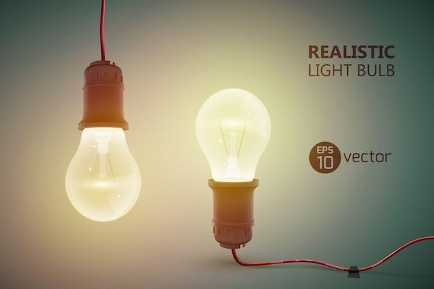 Креативный шаблон с двумя реалистичными вольфрамовыми лампочками на проводах, противоположных друг другу, и блестящей иллюстрацией Premium векторы