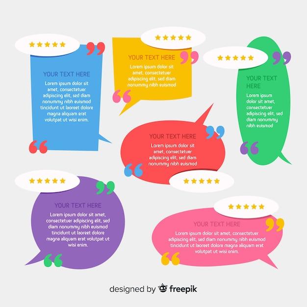 Creative testimonial in speech bubble design Free Vector