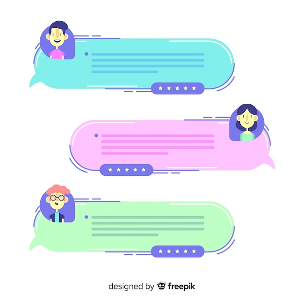 Creative testimonial in speech bubble shape Free Vector