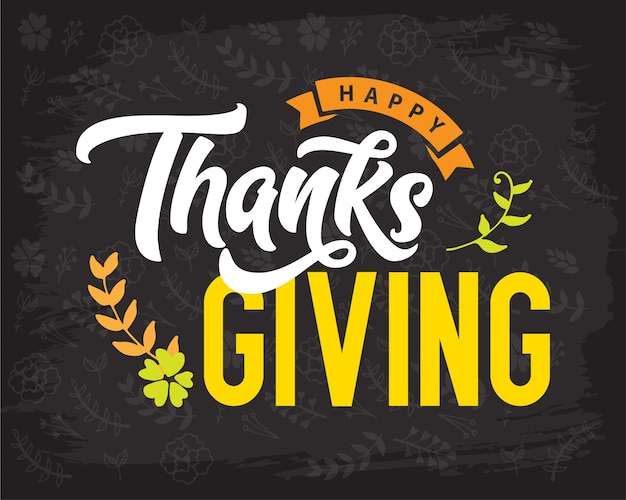 Creative thanksgiving typography for holiday greeting gift card Premium Vector