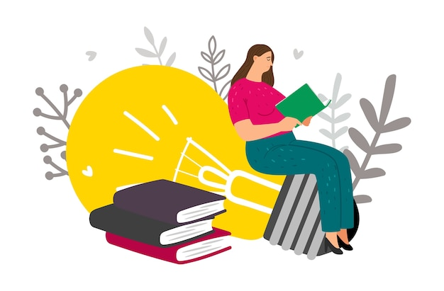 Creative thinking. woman reads books and has new ideas. vector learning concept Premium Vector
