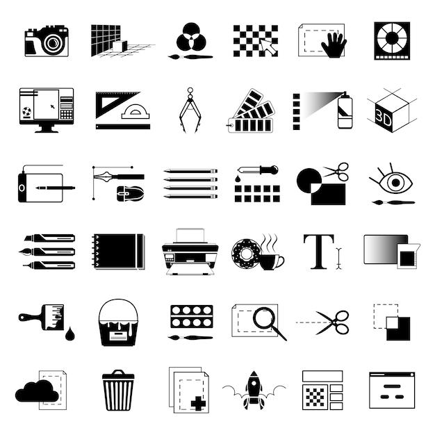 그래픽 아티스트 또는 웹 디자이너를위한 독창적 인 도구 프리미엄 벡터