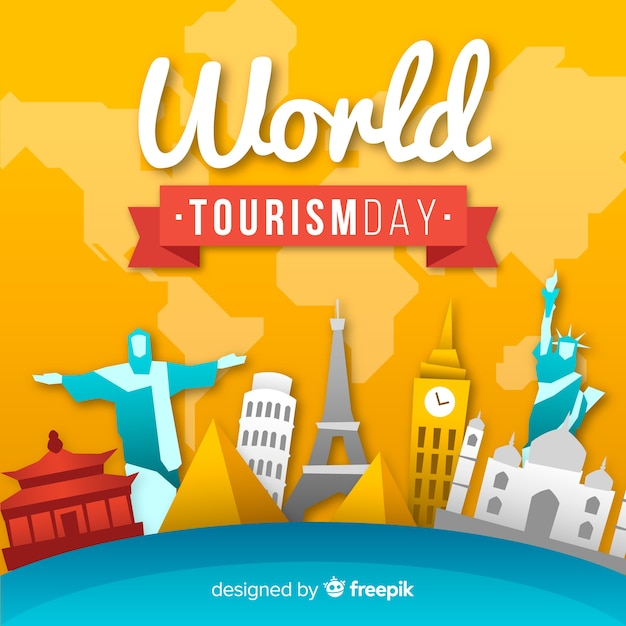 Creative tourism day background Free Vector