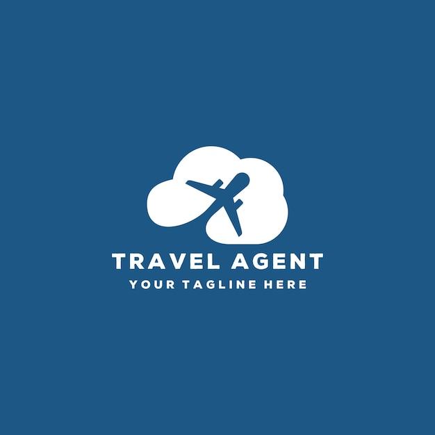 Креативный туристический агент или дизайн логотипа самолета и облака Premium векторы