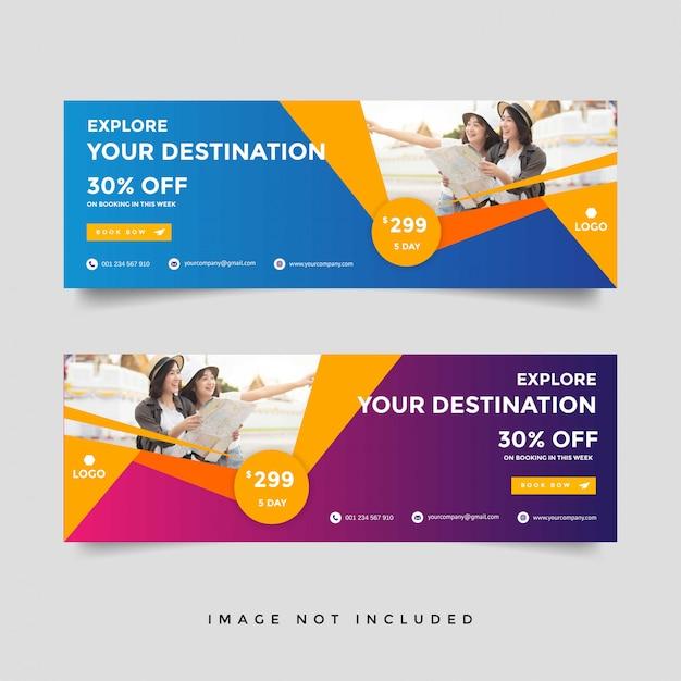 Creative travel banner template collection Premium Vector