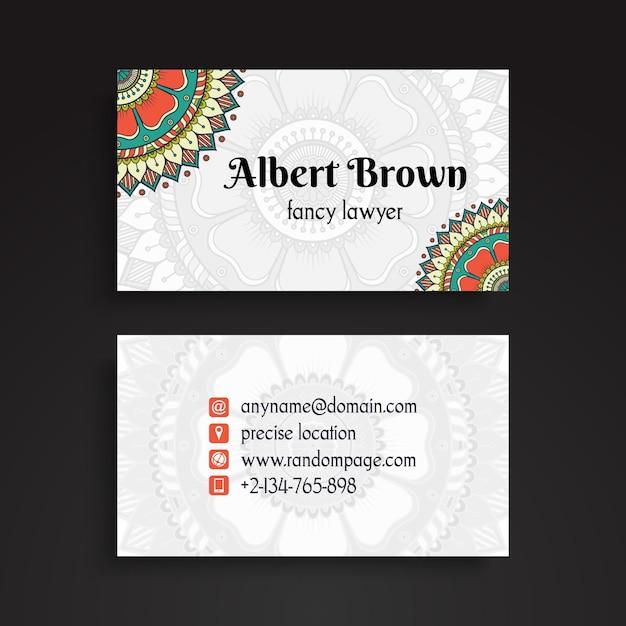 Creative tribal business card with mandala decoration