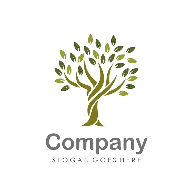 Creative and unique tree logo design template Premium Vector