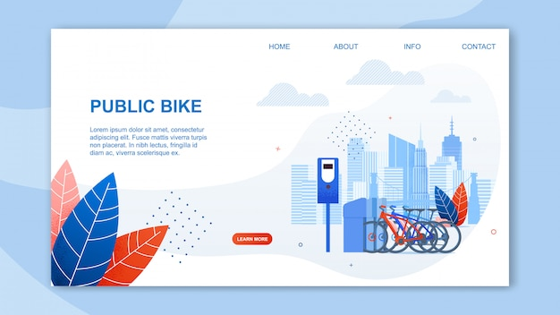 Creative urban transportation web and public bike cartoon  banner Premium Vector
