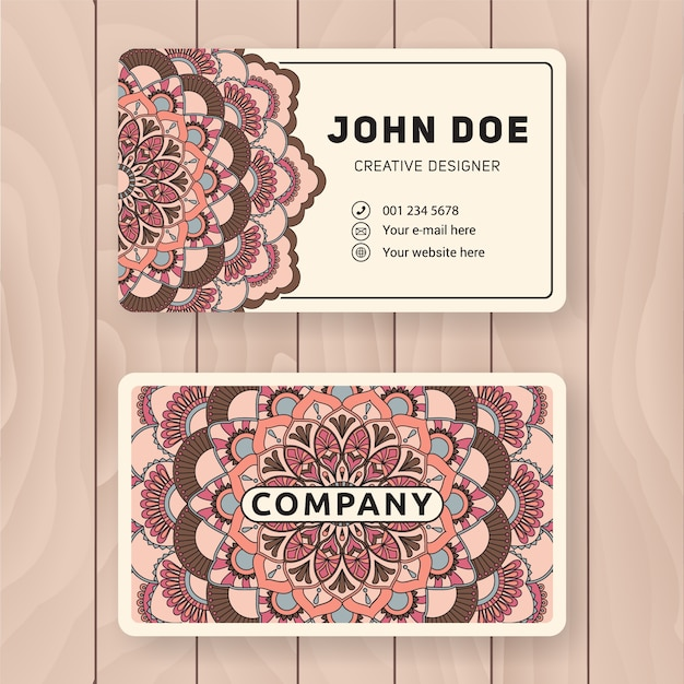 Creative useful business name card design vintage colored mandala creative useful business name card design vintage colored mandala design for personal name card reheart Images
