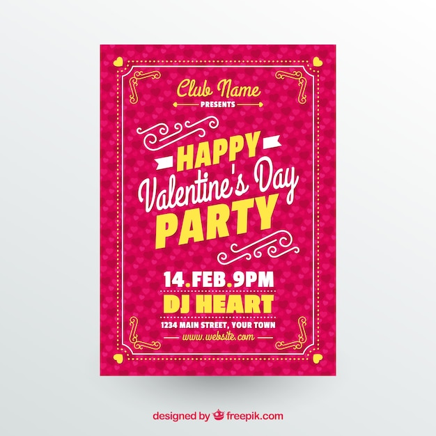 Creative valentine flyer template Free Vector