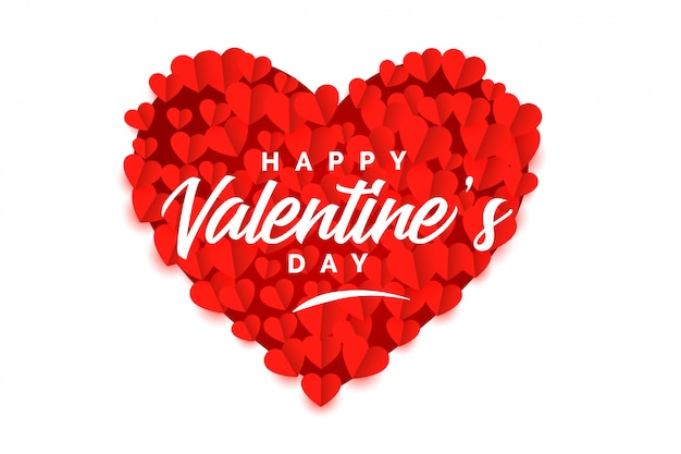 Creative valentines day red heart stylish background Free Vector