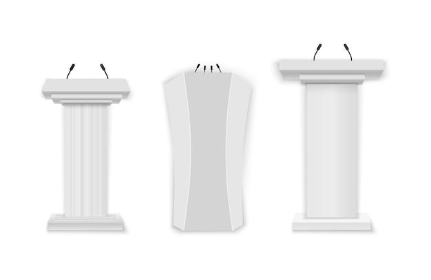 Творческая иллюстрация вектора трибуны подиума с микрофонами на прозрачной предпосылке. белый подиум, трибуна с микрофонами. Premium векторы