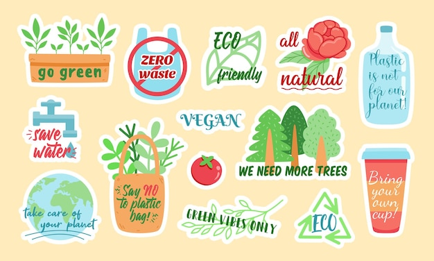 Creative vector stickers with zero waste and eco friendly colorful symbols and stylish inscriptions designed as illustrations for environmental campaign Premium Vector