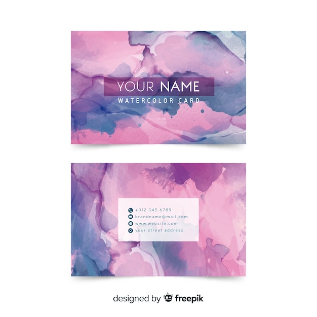 Creative watercolor abstract business card Free Vector