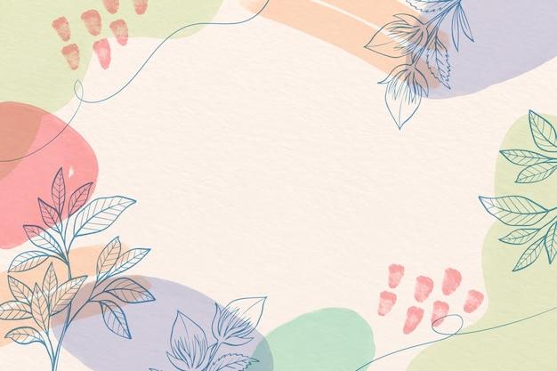 그린 된 꽃과 크리 에이 티브 수채화 배경 무료 벡터