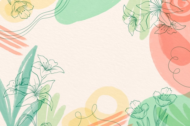 Creative watercolor background with drawn flowers Free Vector