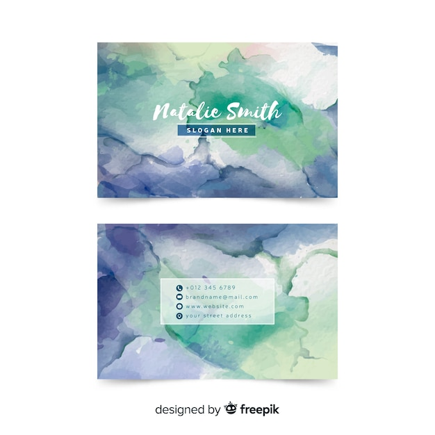 Creative watercolor business card template Free Vector