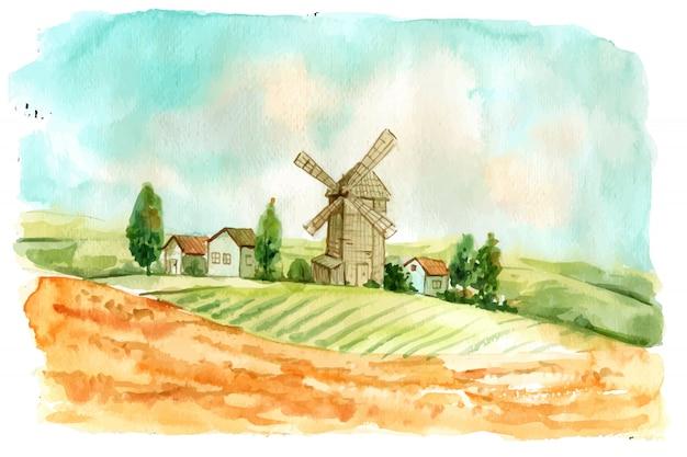 Creative watercolor farm Free Vector