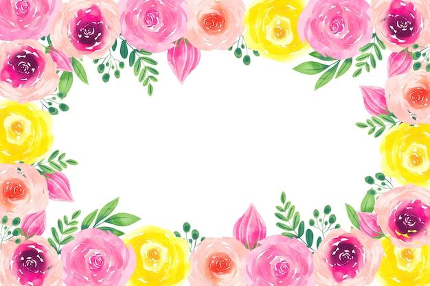 創造的な水彩画の花の壁紙 無料ベクター