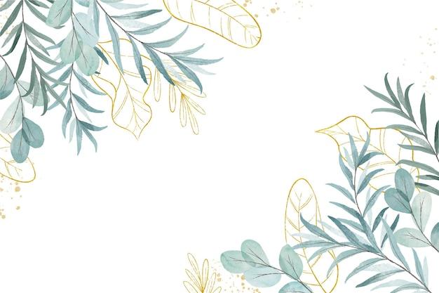 創造的な水彩画の葉の背景 無料ベクター