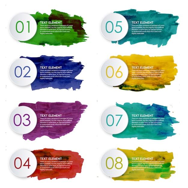 Creative acquerello splatter infographic design Vettore gratuito