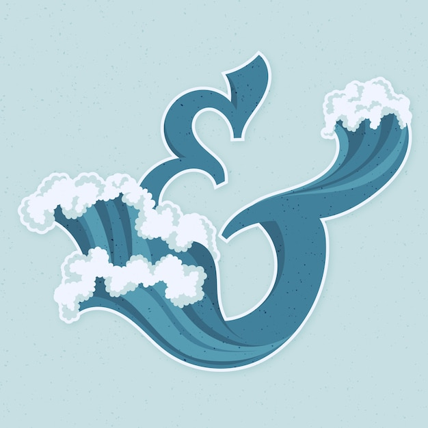 Creative waves letter e Free Vector