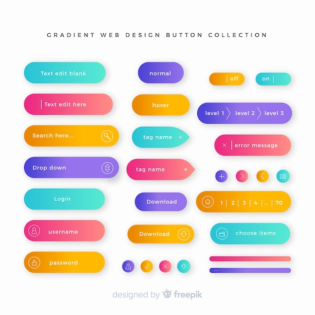 Creative web buttons in gradient style Free Vector