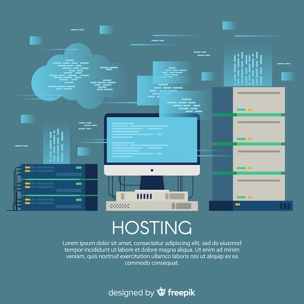 Creative web hosting concept Free Vector