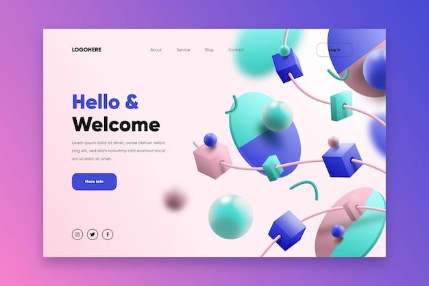 Pagina di destinazione del sito web creativo con forme 3d illustrate Vettore gratuito