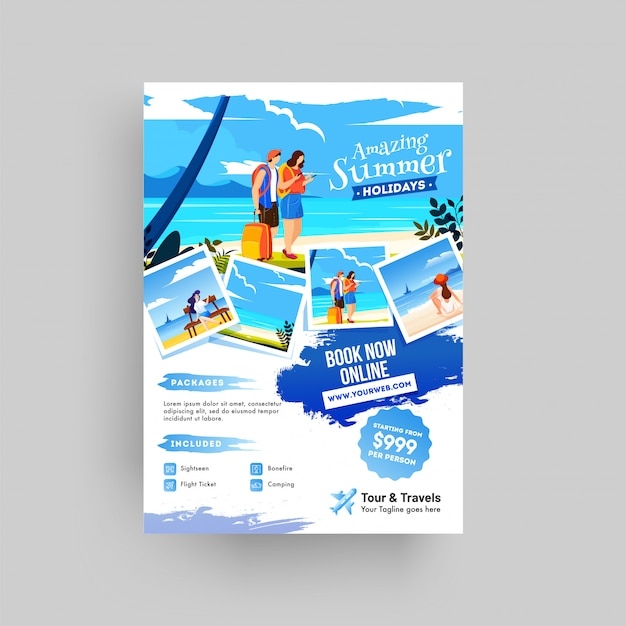 Creative website poster, flyer or template design for summer Premium Vector