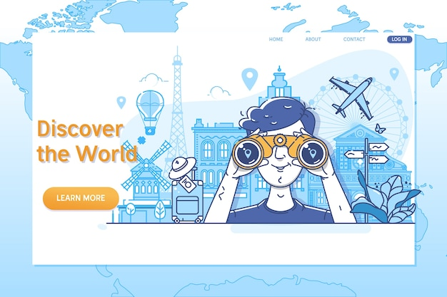 Creative website template of discover the world. Premium Vector