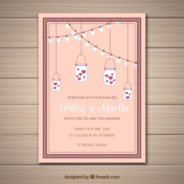 Creative wedding invitation design Vector Free Download