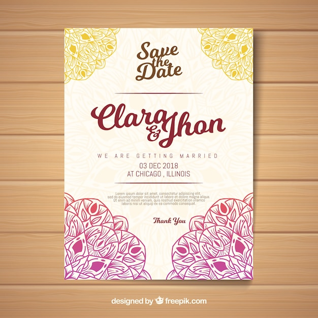 Creative Wedding Invitation Template In Mandala Style Vector Free