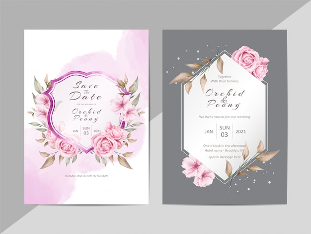 Creative wedding invitation template with watercolor floral and crest Premium Vector